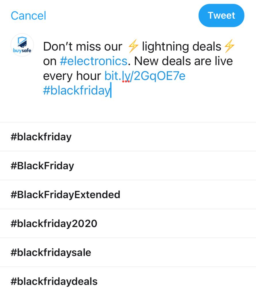 Sample black Friday tweet