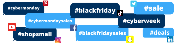 Popular Black Friday and Cyber Monday hashtags